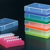 Rack 96 well PCR with lid assorted colours holds 0.2ml PCR tubes strip tubes or 96 well PCR plates can be clipped into PCR workstation for PCR set up