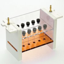 Capillary tube gel unit includes Clarit-E mini vertical electrophoresis tank and capillary gel insert with 10 capillary tubes and blanking ports
