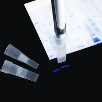 Tips gel cutting racked for excision of bands from electrophoresis gels. Suitable for use on most 1ml pipettes. Cut gel slab is 4x1mm