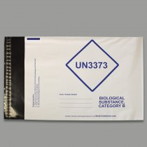 Envelope polyethylene C4 size 229x324mm with UN3373 compliant labelling for transport of category B biological samples to P650 requirements x500