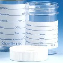 Sample Container 60ml Aseptically produced Polystyrene Printed Label Plastic Flow Seal Cap Pack of 300