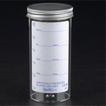 Sample Container 150ml Aseptically produced Polystyrene Plain Label Metal Flow Seal Cap Pack of 120