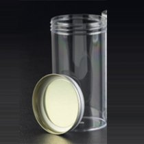 Sample Container 250ml Aseptically produced Polystyrene No Label Metal Flow Seal Cap Pack of 50