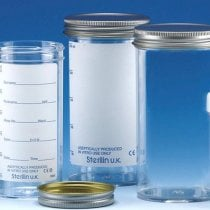 Sample Container 250ml Aseptically produced Polystyrene Printed Label Metal Flow Seal Cap Pack of 50
