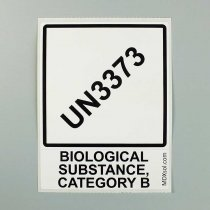 Label 100 x 100mm pre-printed with diamond and text according to UN3373 P650 packaging instruction for transport of category B biological samples