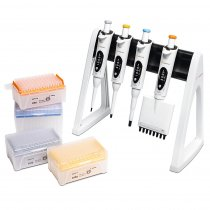 Pipette Manual 3+1-Pack Starter Kit Variable Volume mLINE® 0.5-10µl 20-200µl, 100-1000µl 1-Channel 30-300µl 8-Channel Sartorius with Tips and Stand