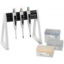 Pipette Manual 3-Pack Multipack Variable Volume Proline® Plus 0.5-10µl 10-100µl and 100-1000µl Sartorius with Tips and Linear Stand