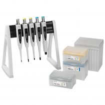 Pipette Manual 5-Pack Multipack Variable Volume Proline® Plus 0.5-10µl 10-100µl 20-200µl 100-1000µl 500-5000µl Sartorius with Tips and Linear Stand