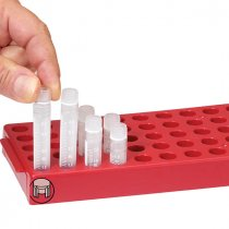 Workstation Red for 50 cryogenic vials with locking base mechanism enabling single handed opening and closing of vials