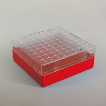 Cryovial Storage Box 100-Position Red for storage of 1.0 to 2.0ml internally and externally threaded cryogenic vials with lid and vial-picker