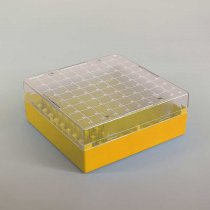 Cryovial Storage Box 100-Position Yellow for storage of 1.0 to 2.0ml internally and externally threaded cryogenic vials with lid and vial-picker
