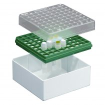 Cryovial Storage Box 81-Position Green for storage of 3.0 to 5.0ml internally and externally threaded cryogenic vials with lid and vial-picker