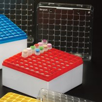 Cryovial Storage Box 81-Position Red for storage of 3.0 to 5.0ml internally and externally threaded cryogenic vials with lid and vial-picker