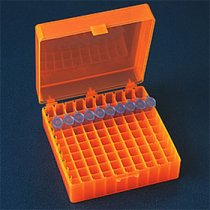 Rack 100-Position Freezer Rack Hinged Lid 10 x 10 Array Orange Temperature -90C to 120C Pack of 5 Fits 1.5ml 2.0ml Microtubes or 1.2ml Cryovials