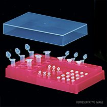 PCR workstation rack fluorescent green for PCR set up of various sized tubes Includes a lid