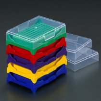 Rack 96 well PCR stacking with lid assorted colours holds 0.2ml PCR tubes strip tubes or 96 well PCR plates
