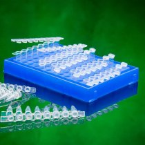 Rack 96 well PCR with lid blue colour holds 0.2ml PCR tubes strip tubes or 96 well PCR plates can be clipped into PCR workstation for PCR set up