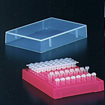 Rack 96 well PCR with lid pink colour holds 0.2ml PCR tubes strip tubes or 96 well PCR plates can be clipped into PCR workstation for PCR set up