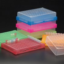Rack 96 well PCR interlocking with lid and stackable assorted colours holds 0.2ml PCR tubes strip tubes or 96 well PCR plates