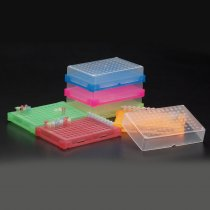 Rack 96 well PCR interlocking with lid and stackable green colour holds 0.2ml PCR tubes strip tubes or 96 well PCR plates