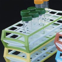 Rack 18 Position Green MultiRack for Tubes up to 30mm Diameter Durable Acetal Lightweight and Stackable 3 Tiers for Tube Stability 293 x 115 x 65mm