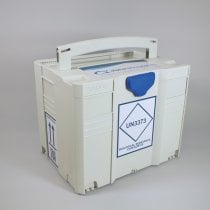 Transport Box MedDXTainer 4 UN3373 regulatory marked stackable and lockable for transport of multiple category B medical samples